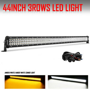 44 Inch 2808w Tri Row Osram Led Light Bar Work Combo Amber White Strobo Light