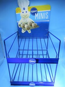 Pillsbury Doughboy Mini Muffins Display Stand rack With Advertising Sign Vguc