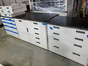 Lot Of 10 Feet Lab Crafters Base Cabinet Casework Stainless Steel Drawers