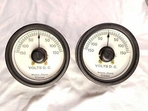 Pair Of Vintage Western Electric Dc Volts Gage Panel Console Meter