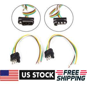 2ft Trailer Light Wiring Harness Extension 4 Pin Plug 18 Awg Flat Wire Connector