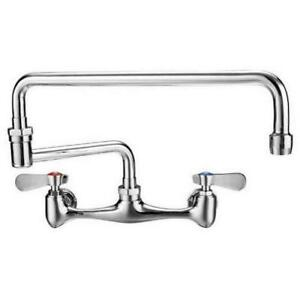 Commercial Kitchen 8 Center Wall mount Faucet With 18 Double Jointed Spout