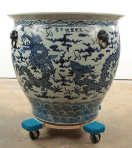 Huge Antique 19th 20th Century Chinese Porcelain Blue And White Fish Bowl