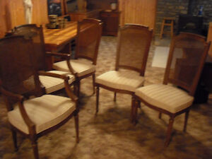 Vintage 5 Henredon French Regency Cain Back Dining Room Chairs 2 W Side Arms