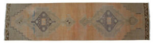 Faded Hand Knotted Wool Turkish Oushak Runner Rug Distressed Rug 2 11 X 11 5