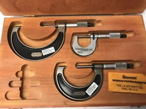 Starrett Metric Micrometer Set Of 3 0 25mm 25 50mm 50 75mm 0401 000029 001