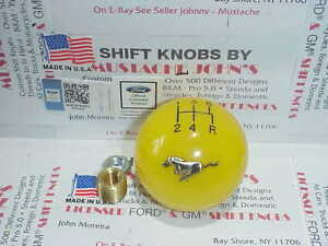 Ford Mustang Pony Custom Licenced 5 Speed Shift Knob yellow