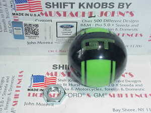 2005 2014 Mustang Gt Custom Rally Licenced Shift Knob black W Green Stripe