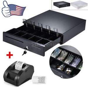 Electronic Cash Drawer Box Works 5 Bill 5 Coin Tray star Pos Printer Rj11 U9u8