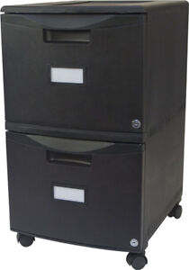 Two Drawer Mobile File Cabinet Locking Casters Office Storage Organizer Black