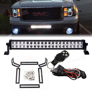 Fit 09 13 Gmc 1500 08 14 2500hd 3500hd Hidden Bumper Grille 120w Light Bar Kit