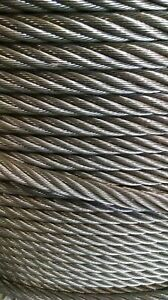 1 2 Bright Wire Rope Steel Cable Iwrc 6x26 100 Feet