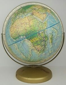 Vtg Rand Mcnally World 12 Globe Suspended Dual Axis Raised Relief Metal Base