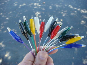 Lot 14 18 Hi temp Teflon Wire Alligator Clip Test Lead Set Assorted Colors