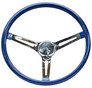 Mooneyes Blue Metalflake Steering Wheel 15 With Slots In Spokes Rat Fink Gm