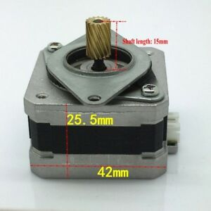 1pcs 42 Stepper Motor 2 phase 4 wire Stepping Motor With Mount Bracket 15t Gear