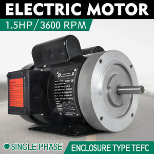 Electric Motor 1 5hp 56c 1 Phase Tefc 115 230v 3600rpm Capacitor Outdoors 2 Pole
