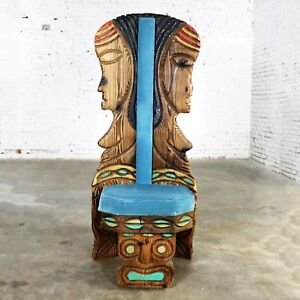 Witco Female Tiki Chair Carved Tiki Females Mid Century Blue Velvet Upholstery