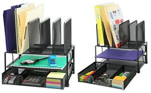 Desk Organizer Mesh Table Storage Space Saving Large Capacity Double Tray Black