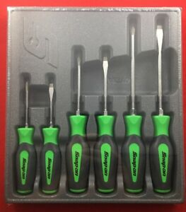 Snap On Shdx60g 6 Pc Combination Instinct Hard Grip Green Screwdriver Set