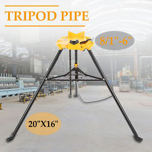 6 Tripod Pipe Chain Vise Stand W Large Base Overhangs Front Legs Portable