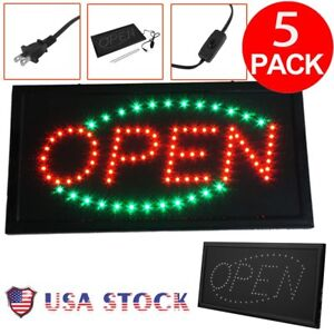 5 Pcs Led Neon Light Animated Motion With On off Store Open Business Sign Us Ma