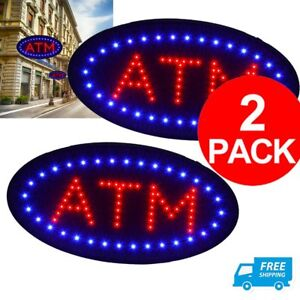 2 X Atm Led Sign Bright Red Blue Light Business Display Flash Chain On off Us Ma