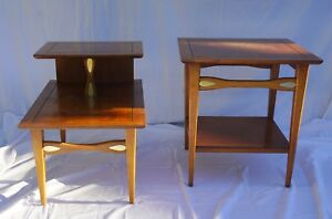 Lane Furniture Step Side End Table Set Brass Mid Century Modern Checkered Rare