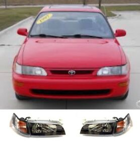 Black Jdm Style Headlights And Corner Lamps 4 Pce Set Fits Toyota Corolla 93 97