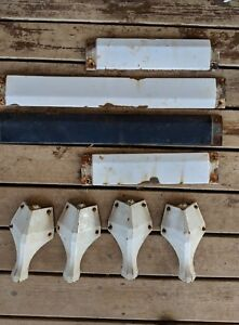 Vintage Enameled Cast Iron Industrial Table Legs Table White Farmhouse Flea Mkt