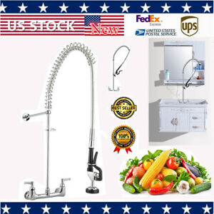 Pre rinse Swivel Spout Sink Faucet 12 Add on Faucet Wall Mount Commercial Home