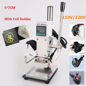 5x7cm 110v 220v Manual Hot Foil Stamping Marking Machine Leather Pvc Printer
