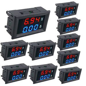 50 Dc 100v10a Voltmeter Ammeter Blue red Led Dual Digital Volt Amp Meter Gauge