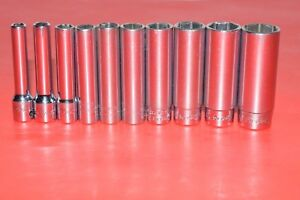 Snap On Tools 1 4 Drive Deep Well 10 Piece Standard 6 Point Socket Set 110stmy