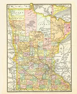1890 Color Map Of Minnesota Each County Individually Colored Railroads Named