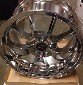 Set Of 2 Brand New 1994 04 Ford Mustang Deep Dish Wheels 18x10 Chrome Free Ship