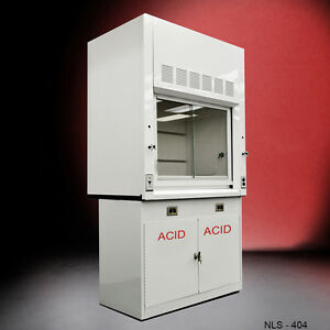White 4 Chemical Laboratory Fume Hood W Epoxy Top And Acid Cabinet In Stock
