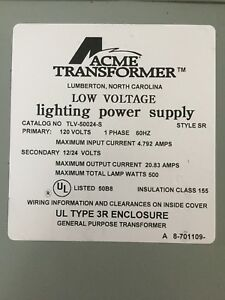 Acme Transformer Low Voltage Lighting Power Supply Tlv 50024 s 120 Volts 60 Hz
