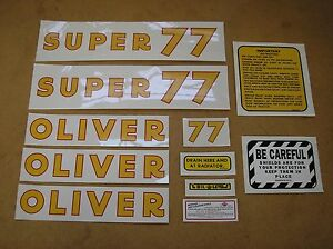 Oliver Super 77 New Decal Set For Tractors 17 38 560