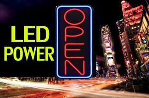 Neon Led Open Vertical Sign Light Restraunt Business Bar Bright Display Aq