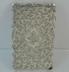 Victorian Solid Silver Hand Engraved Calling Business Card Case