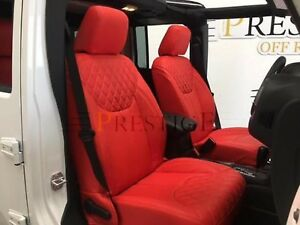 2013 2018 Jeep Wrangler Jk 4dr Syn Leather Custom Seat Covers Red With Diamond