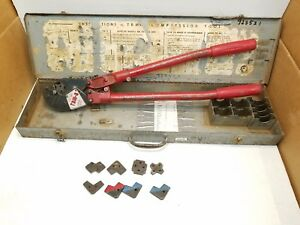 T b Thomas Betts Tbm8 Compression Lug Crimper Tool With Dies In Box