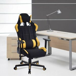 Office Chair Lumbar Support Desk Seat Workplace Stool Armrest Casters Black