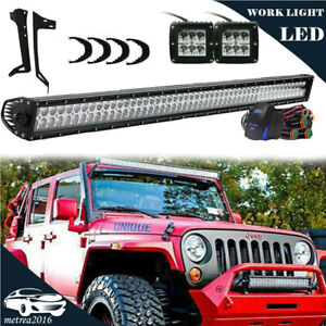 For Jeep Wrangler Jk Roof Mount Bracket dual Row 50 Led Light Bar Combo Kit