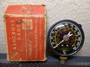 Vintage Ashcroft Industrial Steampunk Pressure Temperature Steel Gauge With Box