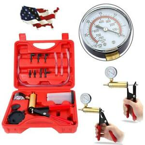 Vacuum Pressure Pump Tester Set Brake Fluid Bleeder Bleeding Kit Hose Connector