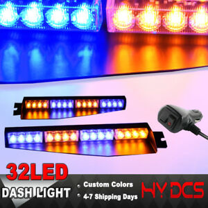 34 32 Led Strobe Lights Bar Emergency Warning Visor Mount Dash Flash Amber Blue