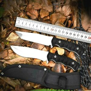 Tactical Fixed Blade Knife Camping Hunting Straight Knife Tanto Blade G10 Handle