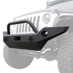 Full Width Front Bumper W center Winch Mount For 07 18 Jeep Wrangler Jk Jku
